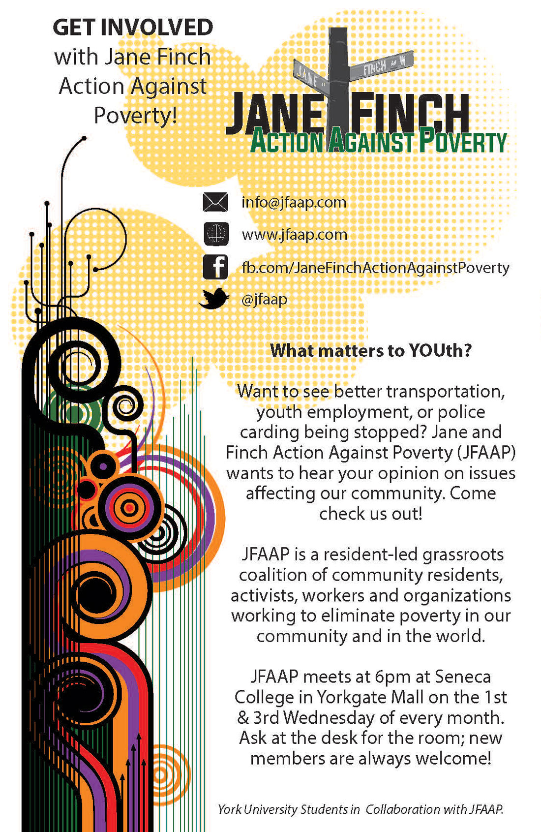 What Matters to Youth Flyer: Jane and Finch Action Against Poverty (JFAAP)