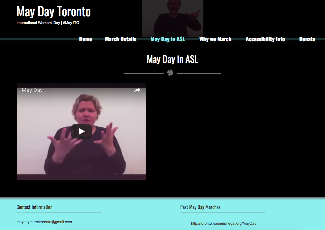 May Day Toronto ASL page