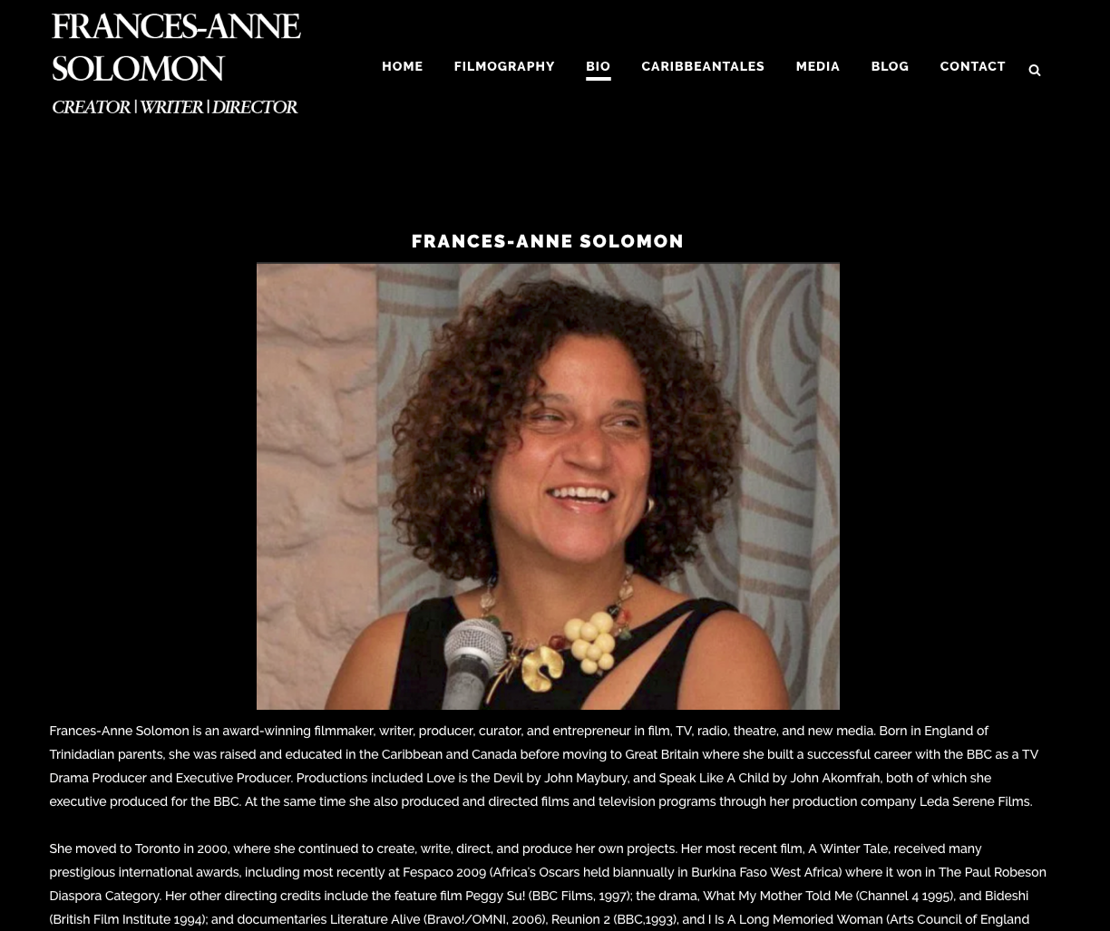 Frances-Anne Solomon Bio page