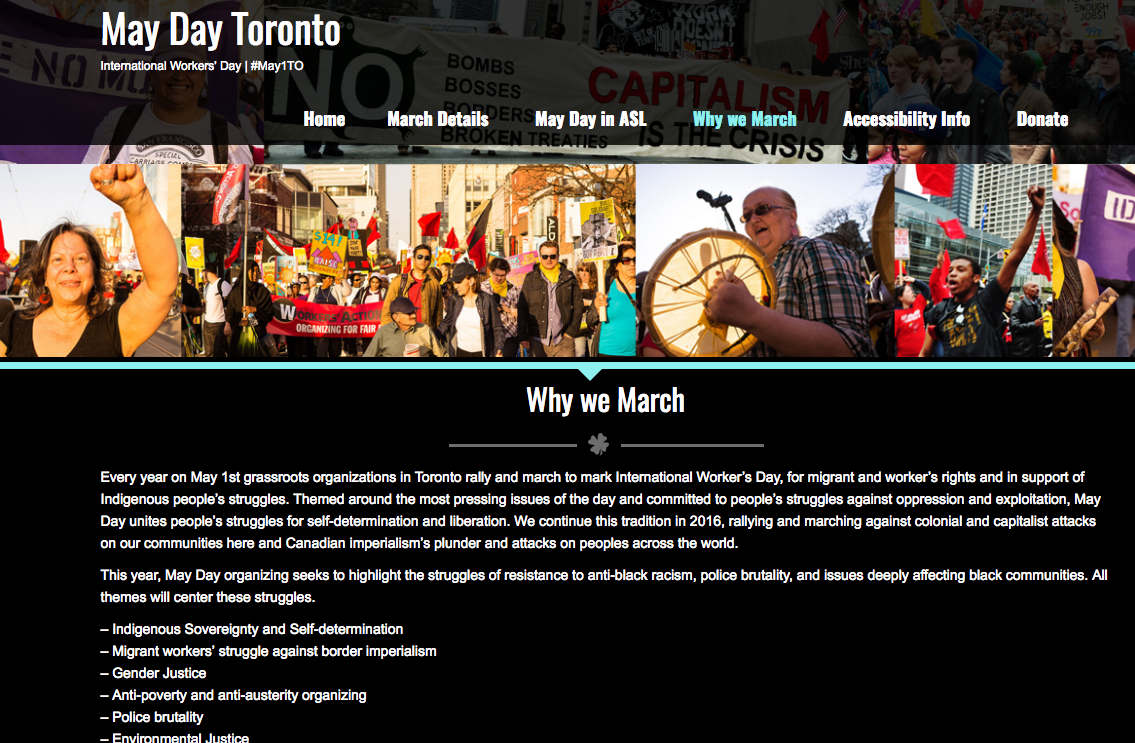 May Day Toronto side page